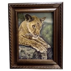 D. Caggiano, Cougar Cub Mountain Lion, Original Animal Portrait Small Oil Painting on Board, Signed by Artist