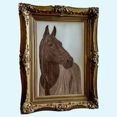Martinez, Racehorse Stone Lithograph Print Signed by Artist Equestrian Race Horse