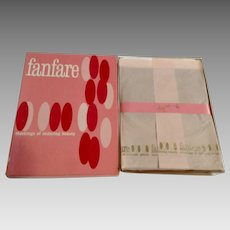 1960's Nine Pair Fanfare Seamless 100% Nylon Microfilm Stockings 10-1/2 Rose Taupe Irregulars 400 Deluxe NIB