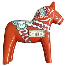 "Vintage Nils Olsson Dala Horse Huge, Very Large 24.5"" Wooden Traditional Sweden Store Display"