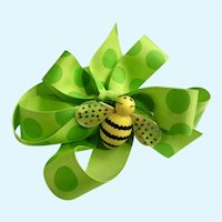 Godiva Chocolates Candy Spring Bee Magnet & Polka Dot Lime Green Ribbon Retired Ornament