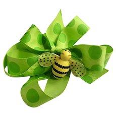 Godiva Chocolates Spring Bee Magnet & Polka Dot Lime Green Ribbon Retired Ornament