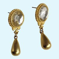 Rhinestone Jewels with Dangling Gold-Tone Sinkers Stud Post Earrings for Pierced Ears Costume Jewelry
