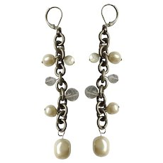 Dangling Pewter Chain Earrings with Faux Pearls and Crystal Beads For Pierced Ears