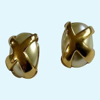 Stud Post Designer Earrings Faux Pearl and Gold-Tone Kenneth Jay Lane