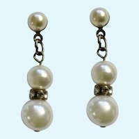 Faux Pearls and Brilliant Faux Diamond Rhinestone Crystals Stud Post Earrings for Pierced Ears