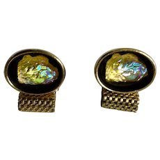 Cufflinks Vintage Men's Gold-Tone and Aurora Borealis Glass Stones Mesh