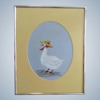 Mother Goose with Sun Hat Watercolor Painting Monogrammed by Artist