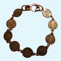 Bracelet Miniature Copper Abraham Lincoln Penny Coins Link 6-1/4 Wrist Size
