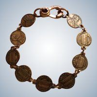 Miniature Copper Abraham Lincoln Penny Two Sided Coin Link Bracelet for Kids 6-1/4 Wrist Size