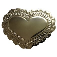 Vintage Polished Nickel Plated Heart Brooch Pin Mexico