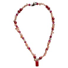 Necklace Beaded Pink Stones and Pink Beads with Pink Stone Pendant