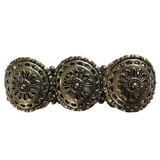 Silver-Tone and Copper Colored Segmented Shields Bracelet on Stretchy Band
