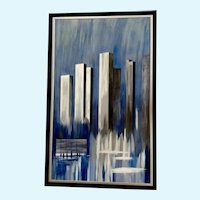 Johnston, Expressionism Abstract Cityscape Blue Buildings Oil Painting Signed By Artist