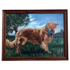 J Rudnick, Golden Retriever Dog Portrait Oil Painting on Canvas Board Signed by Artist