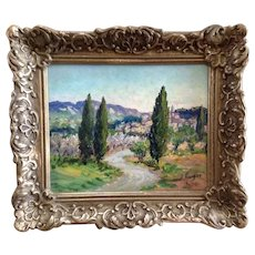 J Rougier, Cypress Trees Near Vineyard by European City Landscape, Oil Painting Signed By French Artist
