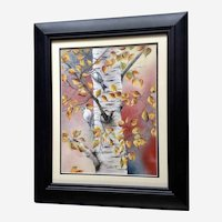 M. Emig, Downy Woodpecker Birds on Birch Tree in Autumn Watercolor Painting