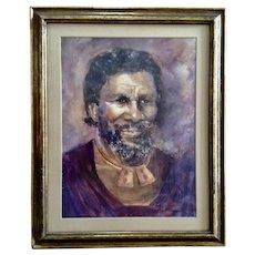 Marion G. Bissonnette  (1914-2010) Black Zimbabwe King Portrait Original Watercolor Painting Signed by Colorado Artist