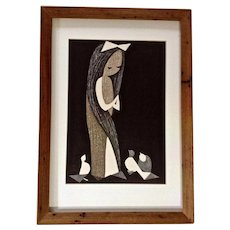 Kawano Kaoru (1916-1965) Doves and Girl Woodblock Print Signed by Artist Signature
