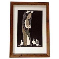 Kawano Kaoru (1916-1965) Doves and Girl Woodblock Print Signed by Artist Signature