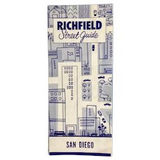 1958 Street Map of San Diego and La Mesa California Richfield Street Guide