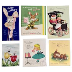 Six 1954 Mid-Century Birthday Easter Anniversary Greeting Cards Bunny Rabbits Paper Group