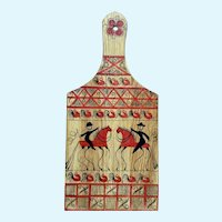 Mid-Century Folk Art Equestrian Rooster Decorative Wall Plaque Cheese Board Paddle