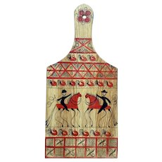 Mid-Century Folk Art Equestrian and Rooster Decorative Wall Plaque Cheese Board Paddle