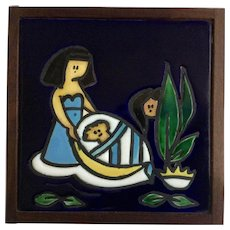 Ein-Reb Tile Art Ceramic Pharaoh's Daughter Finds Moses by Araten Hand Made Israel