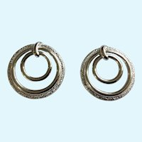 Pair of Sarah Coventry Silver-Tone Textured Loops Brooch Pins