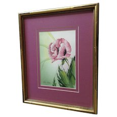 Pretty Pink Wild Poppy Flower Watercolor Painting Signed by Artist
