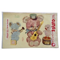 Vintage Mid-Century Decals Meyercord Decorator Furniture or Wall Transfers Flocked Bears and Chick with Instruments