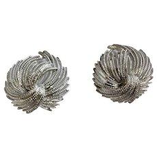 Monet Silver-Tone Tassel Knot Shawl or Scarf Brooch Pin Set