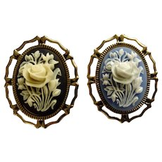 Vintage Plastic Cream & White Flower Cameo on Gold-Tone Setting Pendant or Brooch Pin Set