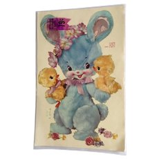 Vintage Decals Meyercord Decorator Furniture or Wall Transfers Blue Bunny Rabbit and Chicks with Pink Flowers