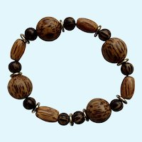 Beaded Wooden Bracelet on Stretchy Band