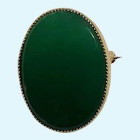 Vintage Faux Jade and Gold-Tone Brooch Pin