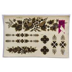 Vintage Decals Meyercord Decorator Furniture, Wall or Appliance Transfers Golden Fruit and Florals