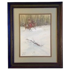 Ron Stewart (1941) Watercolor Painting, Startled, Fir Trader Mountain Man on a Startled Horse, Works on Paper Signed by Artist,