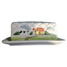 Otagiri Quilted Farm Covered Butter Dish Raised Relief Barn & Duck Quilt Pattern 1982 Hand Painted Ceramic Japan