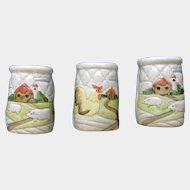 Otagiri Quilted Farm Salt, Pepper and Seasoning Salt Shakers Raised Relief Barn & Duck Quilt Pattern 1982 Hand Painted Ceramic S&P Japan