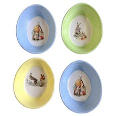 Williams-Sonoma Nostalgic Easter Bunny Ramekin Ceramic Egg Basket Dishes with Colored Eggs