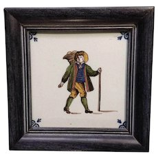 Vintage Delftware Blue Delft Dutch Ceramic Tile Framed Merchant Farmer With Basket
