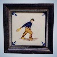 Delft Blue Vintage Delftware Dutch Ceramic Tile Framed Farmer Sowing a Field