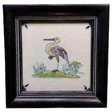 Vintage Delftware Blue Delft Dutch Ceramic Tile Framed Heron Water Bird