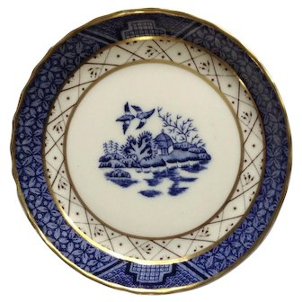 Royal Doulton England Real Old Willow Coaster with Blue and Gold Trim TC 1126