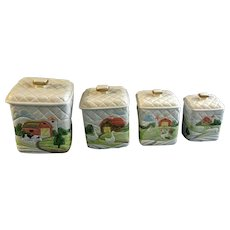 Otagiri Quilted Farm Covered Canister Set of Four Raised Relief Barn & Duck Quilt Pattern 1982 Hand Painted Ceramic Kitchen Containers Japan