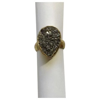Natural Silver Geode Sparkling Stone Ring Adjustable Band Marked 925 Sterling