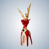 Mid-Century Red Deer Stuffed Plush Animal Christmas Reindeer with Bell Japan Mid-Century