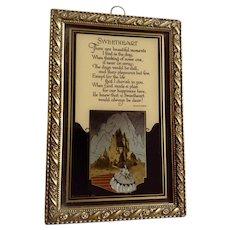 Sweetheart Poem 1930's Framed Reverse Glass Print Emma Koehler by C&A Richards